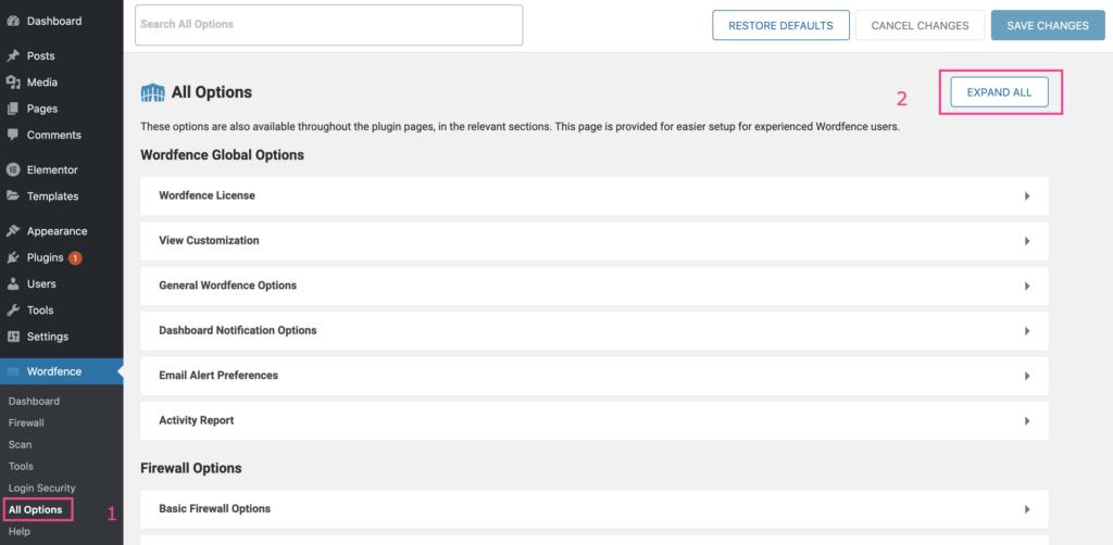 הגדרה של Wordfence - שלב א׳