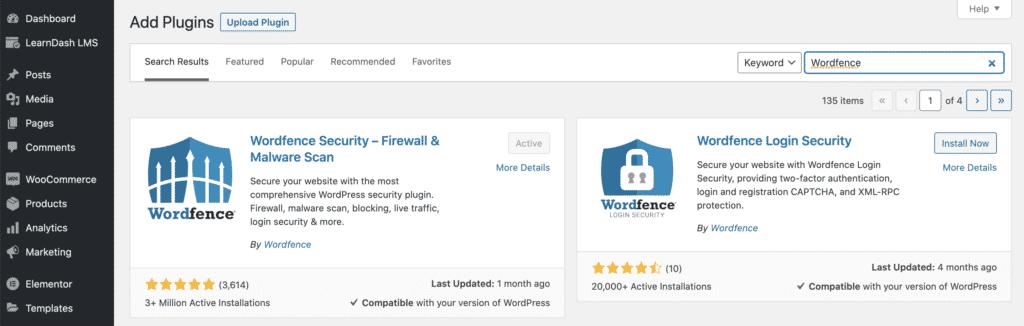 מסך התקנת תוסף אבטחה Wordfence בממשק הוורדפרס