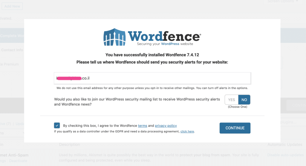 מסך ההתקנה הראשוני של Wordfence