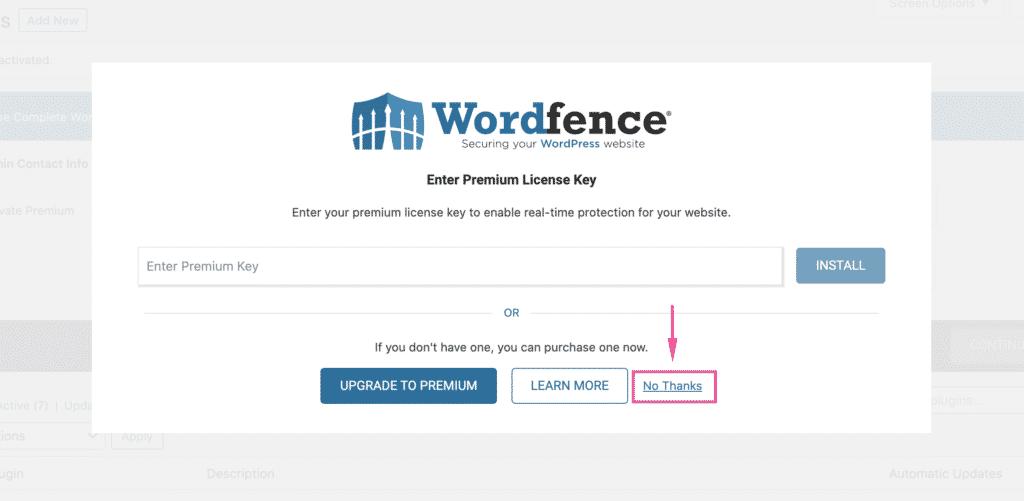 מסך ההתקנה המשני של Wordfence
