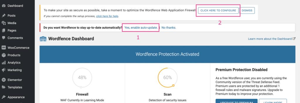 התקנה של Wordfence - שלב ב׳